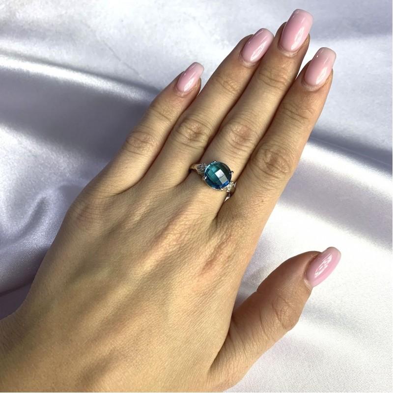 Серебряное кольцо SilverBreeze с натуральным топазом Лондон Блю 3.36ct (2062561) 16.5 размер
