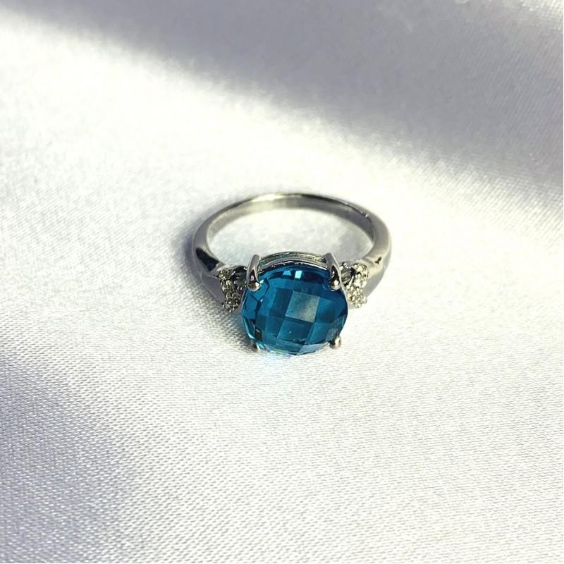 Серебряное кольцо SilverBreeze с натуральным топазом Лондон Блю 3.36ct (2062561) 17.5 размер