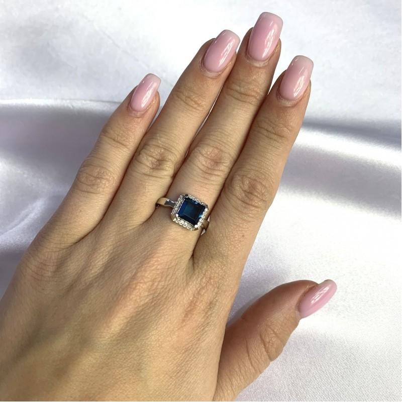 Серебряное кольцо SilverBreeze с натуральным топазом Лондон Блю 1.603ct (2062264) 17.5 размер