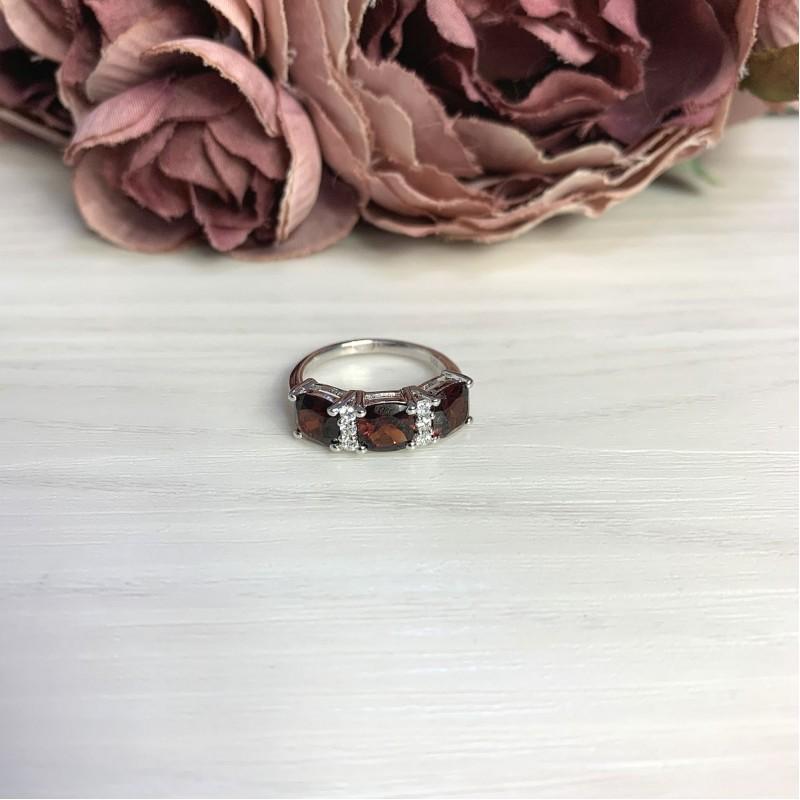 Серебряное кольцо SilverBreeze с натуральным гранатом 3.8ct (2061595) 17.5 размер