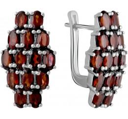 Серебряные серьги SilverBreeze с натуральным гранатом 9.1ct (2061427)