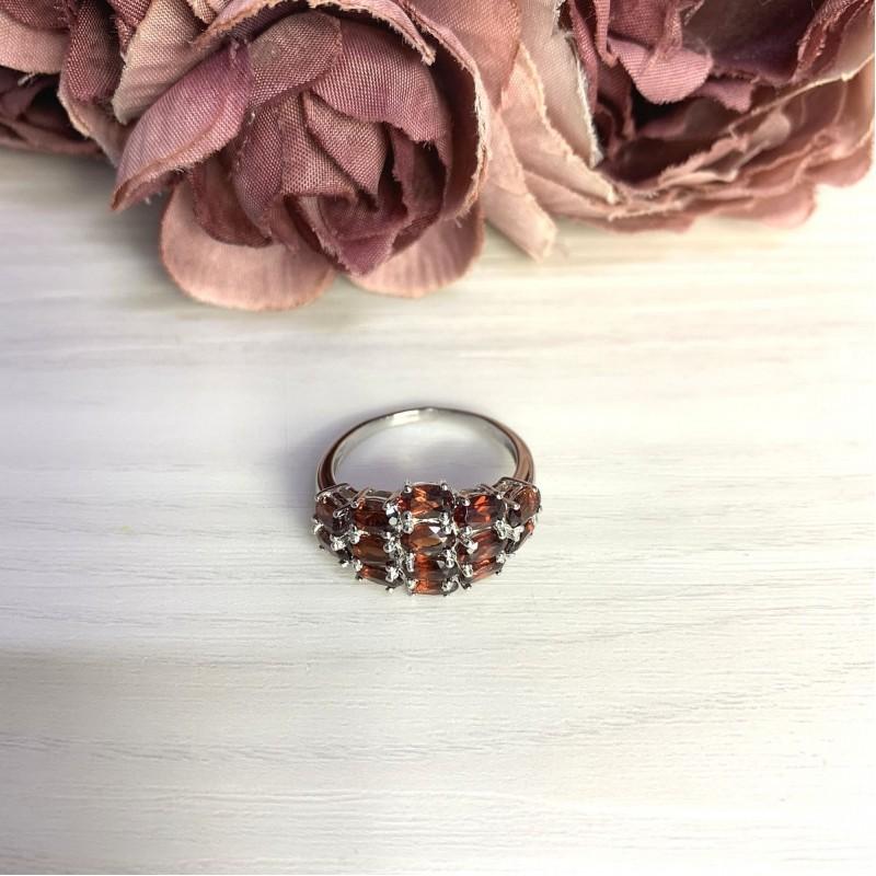 Серебряное кольцо SilverBreeze с натуральным гранатом 3.983ct (2061410) 17.5 размер