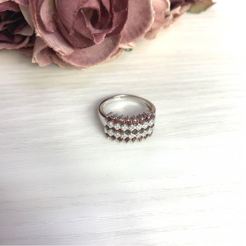 Серебряное кольцо SilverBreeze с натуральным гранатом 1.306ct (2061397) 18 размер