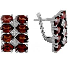 Серебряные серьги SilverBreeze с натуральным гранатом 9.368ct (2061328)