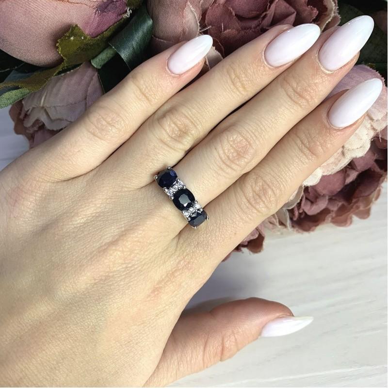 Серебряное кольцо SilverBreeze с натуральным сапфиром 3.843ct (2061120) 18 размер