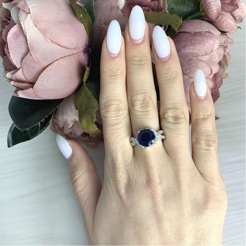 Серебряное кольцо SilverBreeze с натуральным сапфиром 4.998ct (2061045) 18 размер