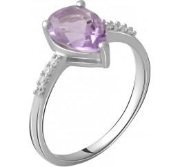 Серебряное кольцо SilverBreeze с натуральным аметистом 1.77ct (2060598) 18 размер