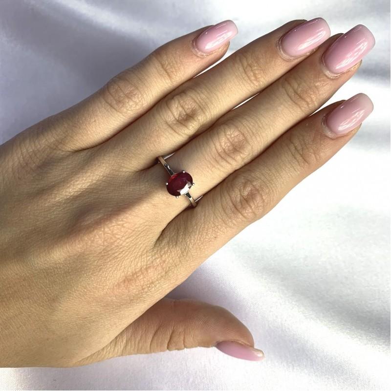 Серебряное кольцо SilverBreeze с натуральным рубином 1.756ct (2060178) 18 размер