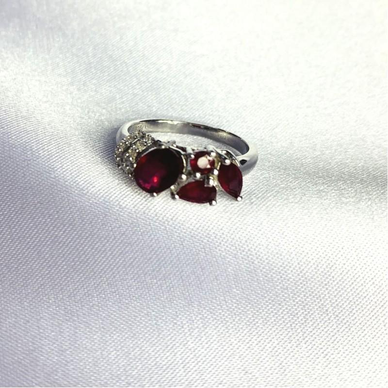Серебряное кольцо SilverBreeze с натуральным рубином 2.004ct (2060079) 17.5 размер