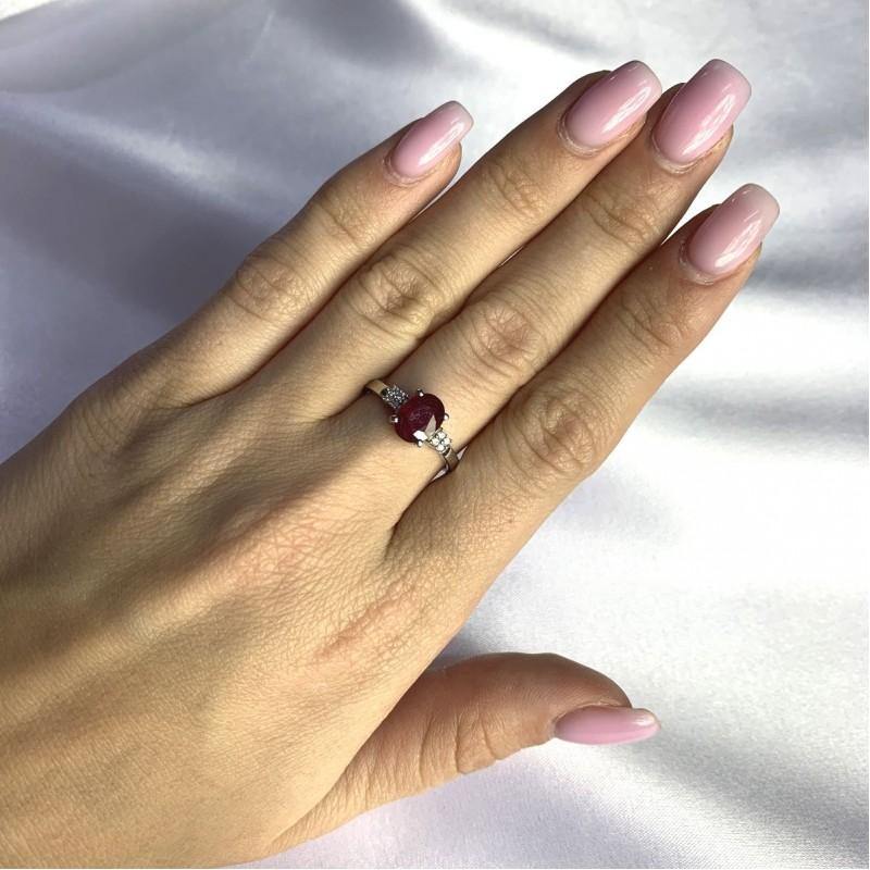 Серебряное кольцо SilverBreeze с натуральным рубином 2.003ct (2060055) 17 размер