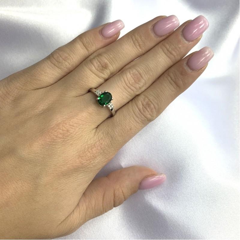 Серебряное кольцо SilverBreeze с изумрудом nano 1.02ct (2059936) 18 размер