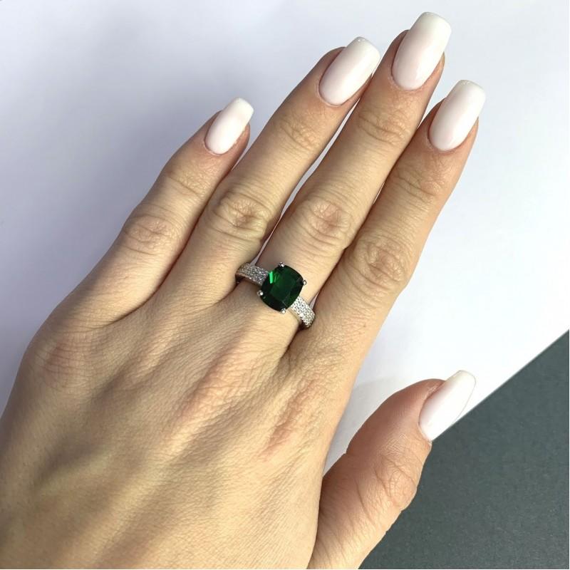 Серебряное кольцо SilverBreeze с изумрудом nano 3.398ct (2059851) 18.5 размер