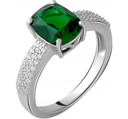 Серебряное кольцо SilverBreeze с изумрудом nano 3.398ct (2059851) 18 размер