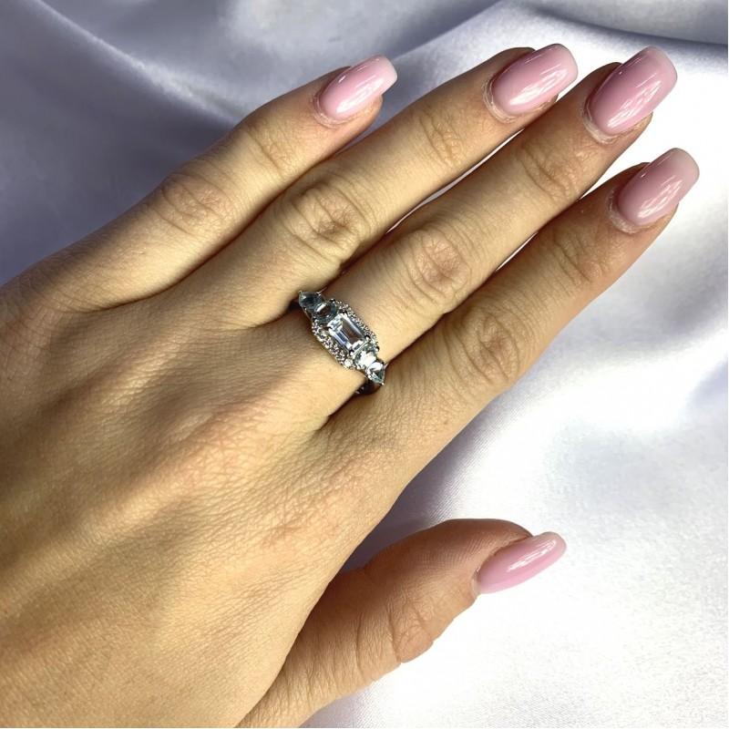 Серебряное кольцо SilverBreeze с натуральным топазом 1.68ct (2058977) 18.5 размер