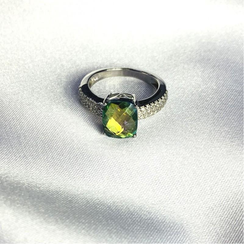 Серебряное кольцо SilverBreeze с натуральным мистик топазом 2.966ct (2058410) 18 размер