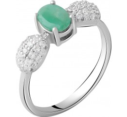 Серебряное кольцо SilverBreeze с натуральным изумрудом 1.315ct (2058335) 17.5 размер