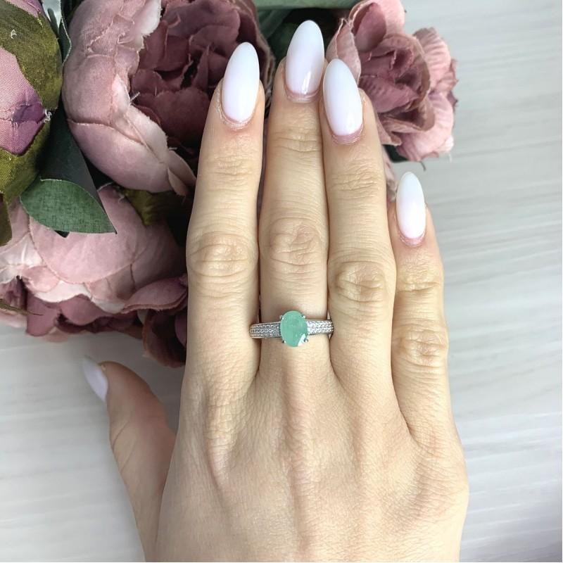 Серебряное кольцо SilverBreeze с натуральным изумрудом 1.531ct (2058311) 18 размер