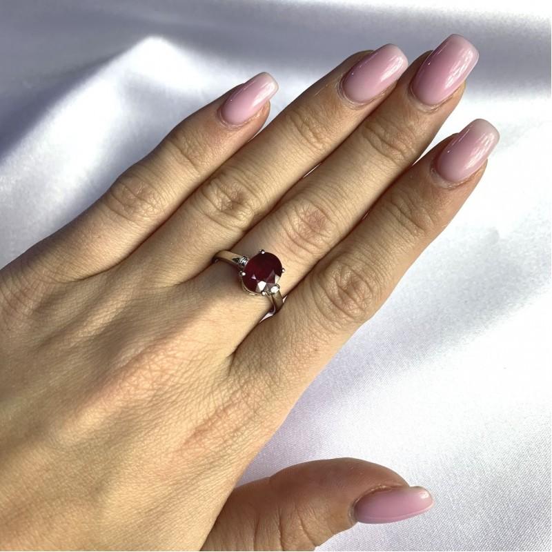 Серебряное кольцо SilverBreeze с натуральным рубином 2.663ct (2058151) 17.5 размер