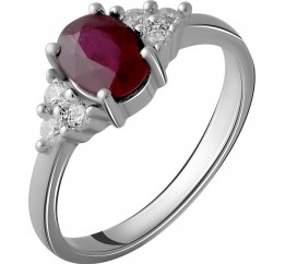 Серебряное кольцо SilverBreeze с натуральным рубином 1.327ct (2058045) 16.5 размер