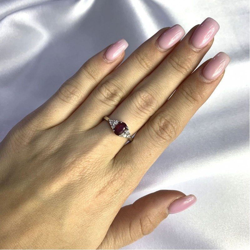 Серебряное кольцо SilverBreeze с натуральным рубином 1.327ct (2058045) 17.5 размер