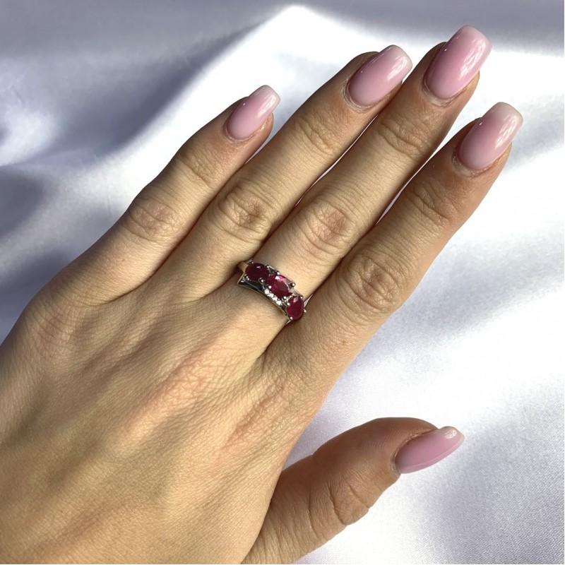Серебряное кольцо SilverBreeze с натуральным рубином 2.144ct (2057987) 17.5 размер