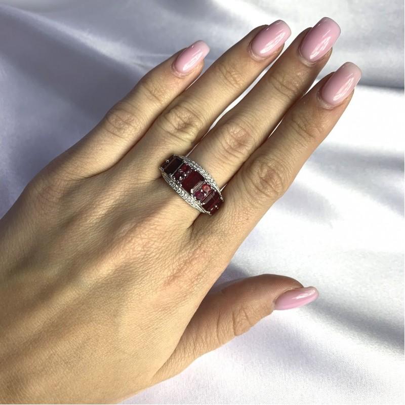 Серебряное кольцо SilverBreeze с натуральным рубином 5.927ct (2057963) 17.5 размер