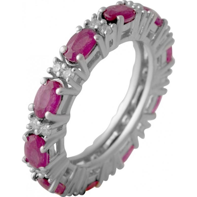 Серебряное кольцо SilverBreeze с натуральным рубином 3.879ct (2057772) 17.5 размер