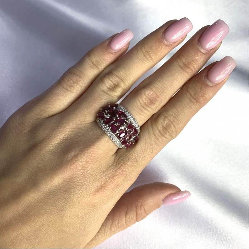 Серебряное кольцо SilverBreeze с натуральным рубином 4.443ct (2057758) 18.5 размер