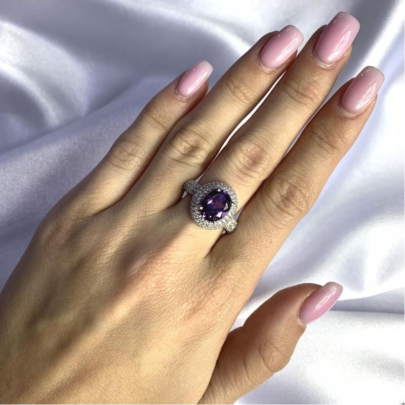 Серебряное кольцо SilverBreeze с олександритом 4.66ct (2057475) 17.5 размер