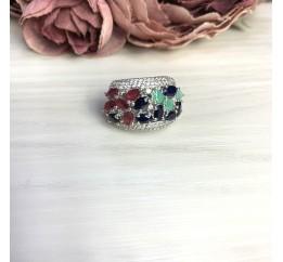 Серебряное кольцо SilverBreeze с натуральным сапфиром 4.838ct, изумрудом, рубином (2057451) 18.5 размер