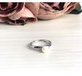 Серебряное кольцо SilverBreeze с натуральным жемчугом (2056867) 17 размер
