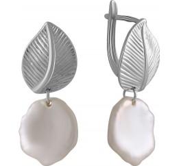 Серебряные серьги SilverBreeze с натуральным жемчугом барочным (2055969)