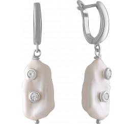 Серебряные серьги SilverBreeze с натуральным жемчугом барочным (2055938)