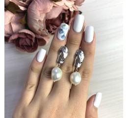 Серебряные серьги SilverBreeze с натуральным жемчугом барочным (2055914)