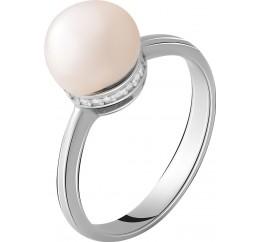 Серебряное кольцо SilverBreeze с натуральным жемчугом (2055310) 17 размер