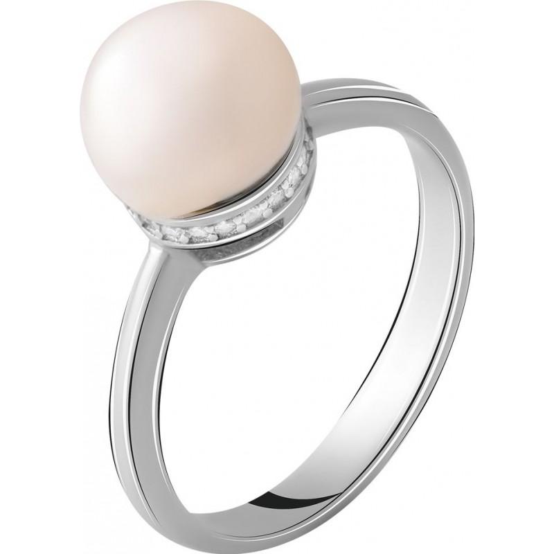 Серебряное кольцо SilverBreeze с натуральным жемчугом (2055310) 18 размер