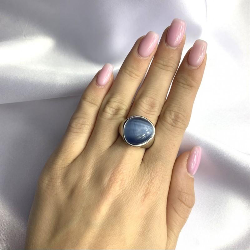 Серебряное кольцо SilverBreeze с кошачим глазом (2054801) 17.5 размер