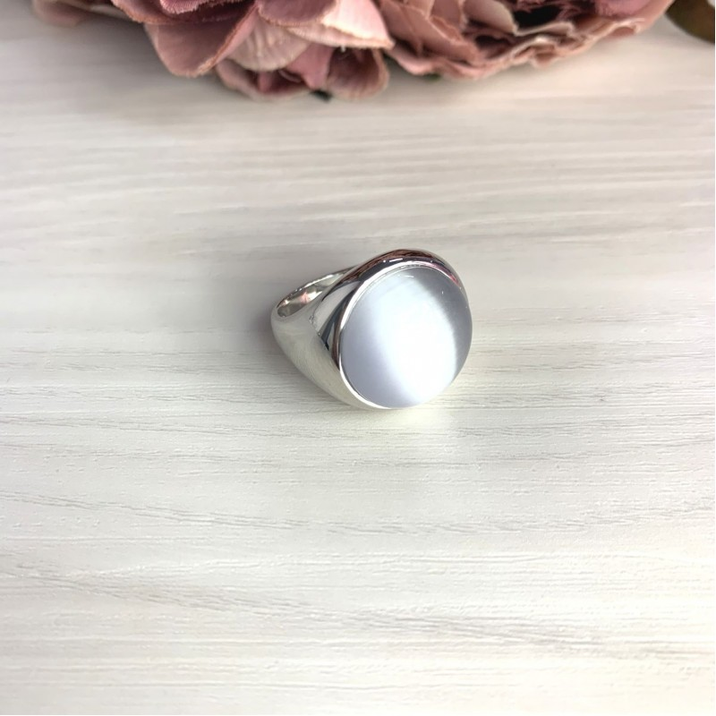Серебряное кольцо SilverBreeze с кошачим глазом (2054764) 18 размер