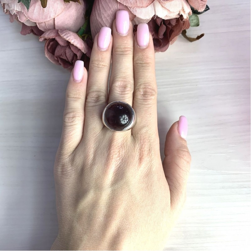 Серебряное кольцо SilverBreeze с кошачим глазом (2054726) 17.5 размер