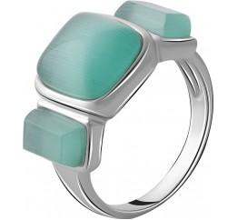 Серебряное кольцо SilverBreeze с кошачим глазом (2054535) 17.5 размер