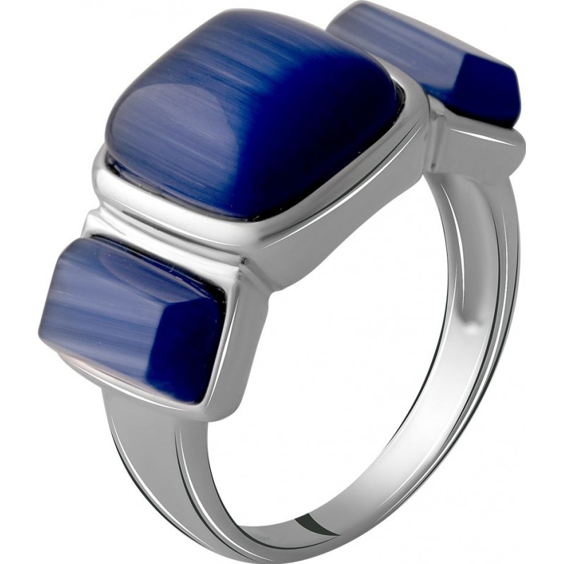 Серебряное кольцо SilverBreeze с кошачим глазом (2054511) 17 размер