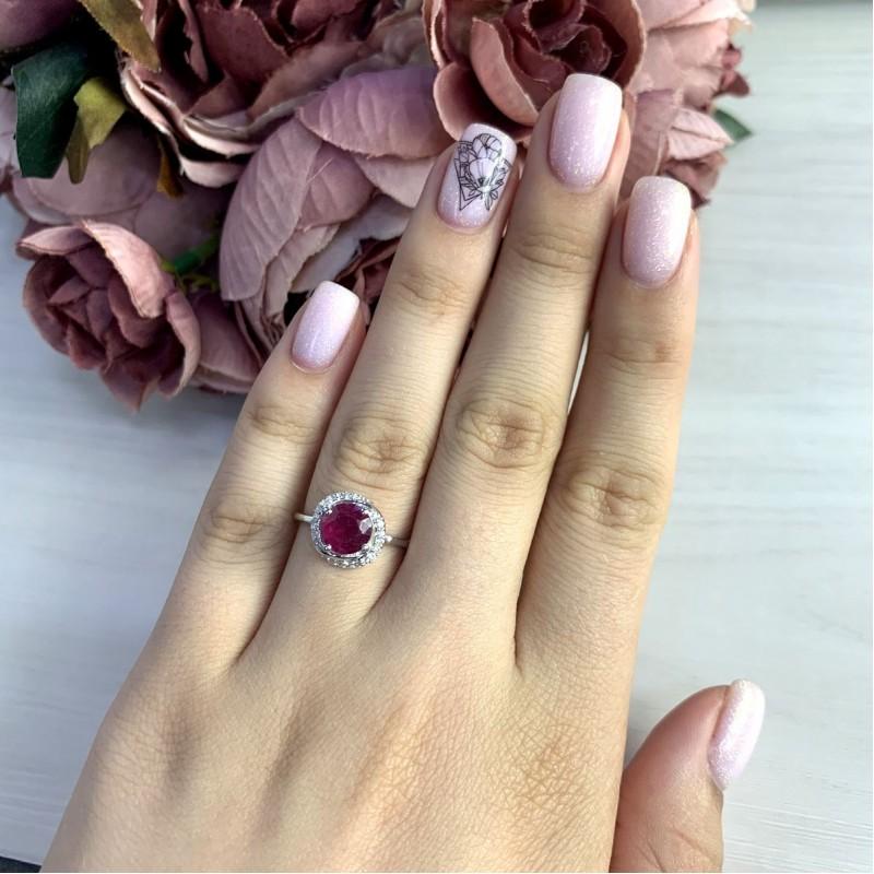 Серебряное кольцо SilverBreeze с натуральным рубином 2.158ct (2054023) 17 размер
