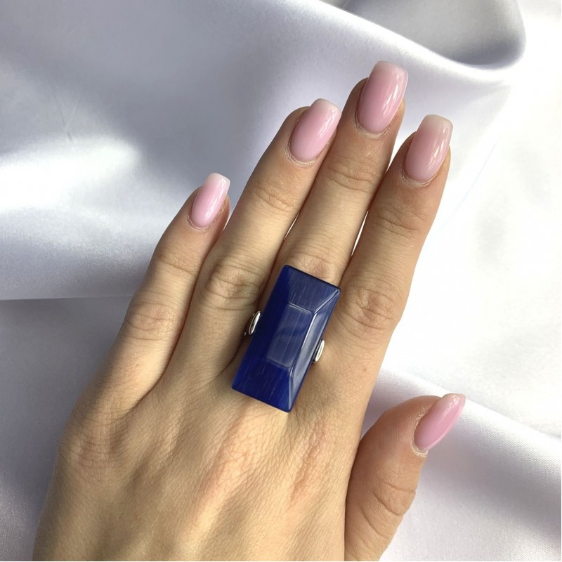 Серебряное кольцо SilverBreeze с кошачим глазом (2052586) 17.5 размер
