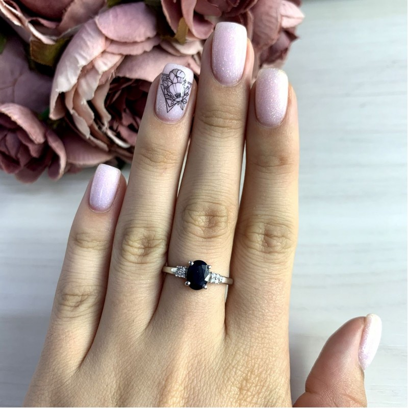 Серебряное кольцо SilverBreeze с натуральным сапфиром 1.708ct (2051909) 17.5 размер