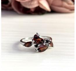 Серебряное кольцо SilverBreeze с натуральным гранатом 2.34ct (2051787) 18 размер
