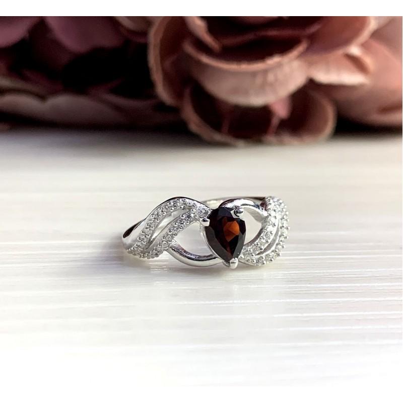 Серебряное кольцо SilverBreeze с натуральным гранатом 0.83ct (2051671) 18 размер