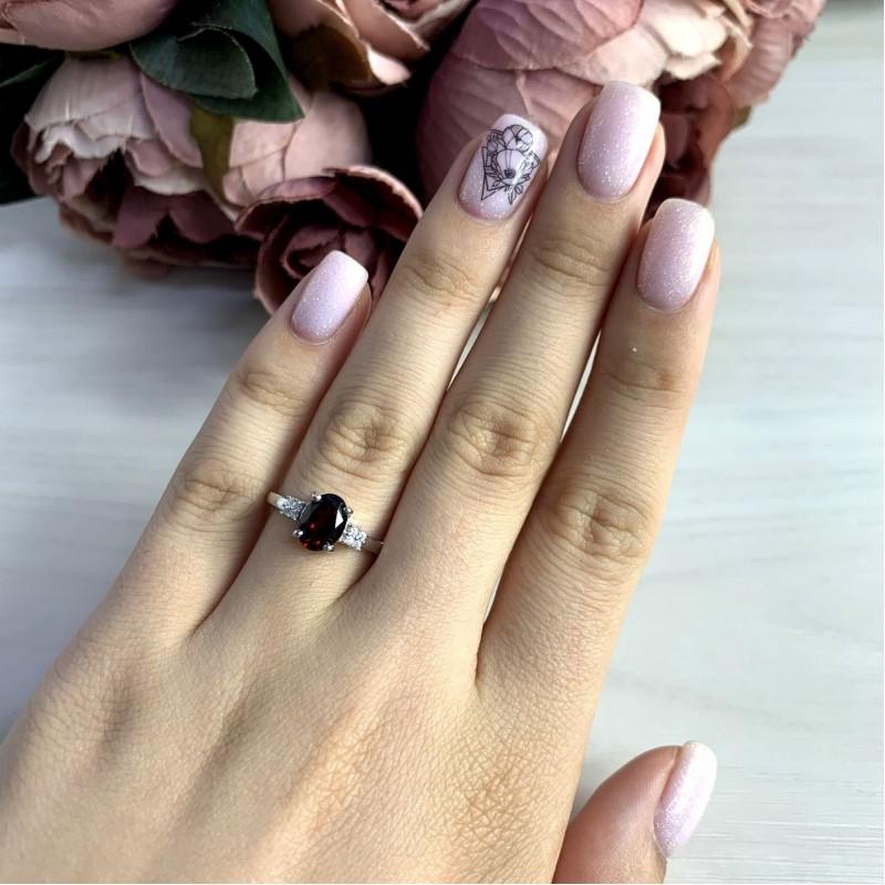 Серебряное кольцо SilverBreeze с натуральным гранатом 1.45ct (2051664) 17 размер