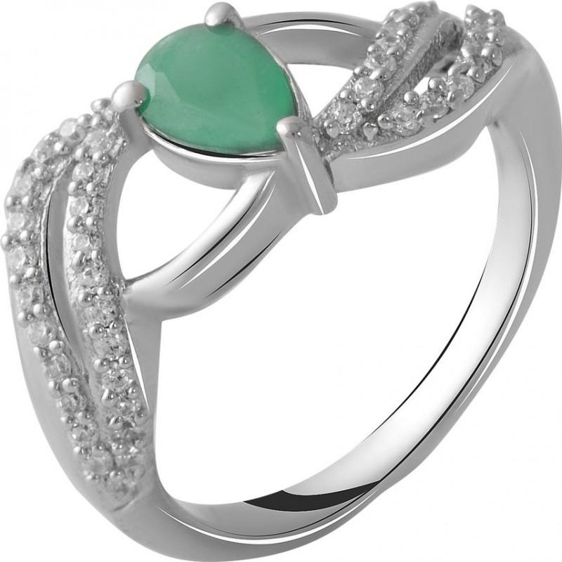 Серебряное кольцо SilverBreeze с натуральным изумрудом 0.58ct (2051534) 16.5 размер