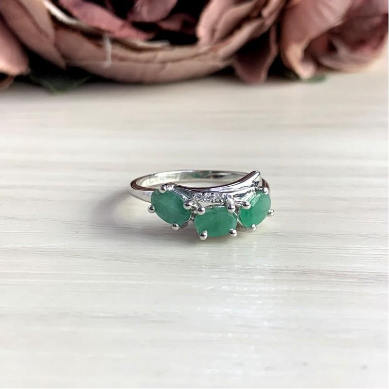 Серебряное кольцо SilverBreeze с натуральным изумрудом 1.269ct (2051510) 17.5 размер