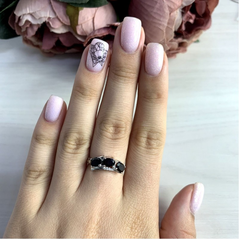 Серебряное кольцо SilverBreeze с натуральным гранатом 1.53ct (2050544) 17.5 размер